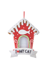 Raz Imports GINGERBREAD CAT HOUSE ORNAMENT