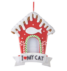Raz Imports GINGERBREAD CAT HOUSE ORNAMENT