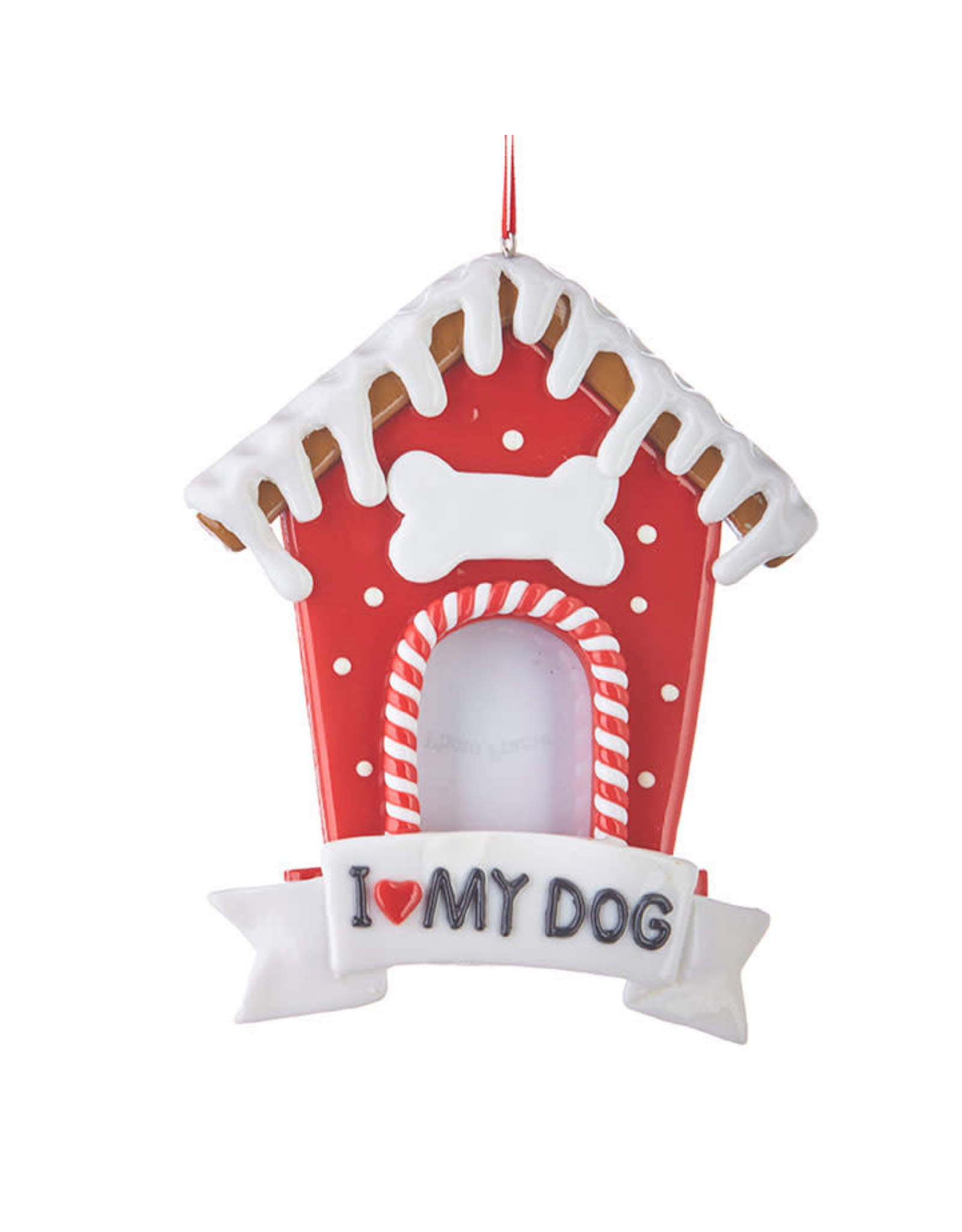 Raz Imports GINGERBREAD DOG HOUSE ORNAMENT