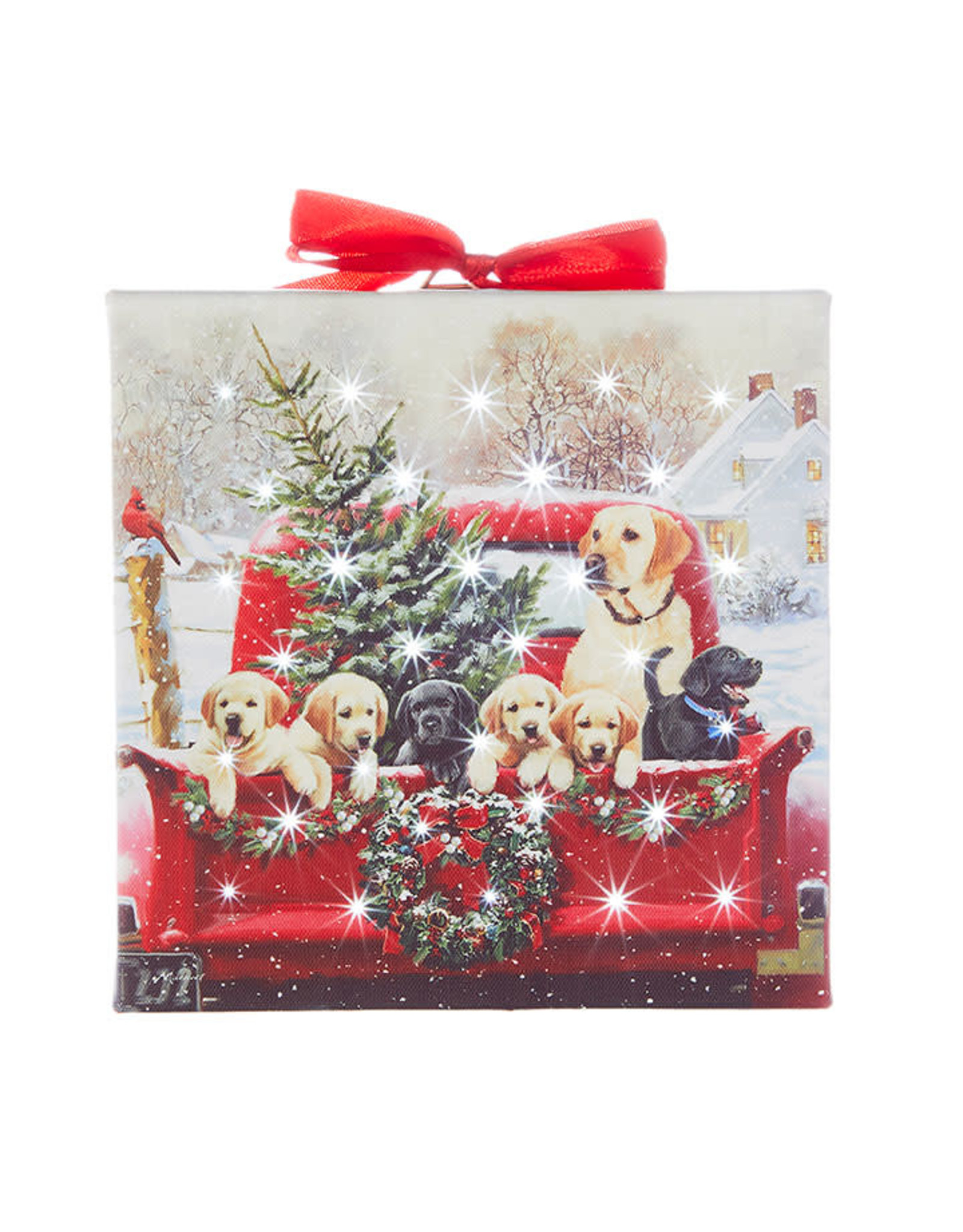 Raz Imports LABRADORS IN TRUCK LIGHTED PRINT 6""