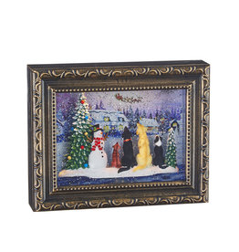 Raz Imports DOGS WATCHING SANTA LIGHTED WATER PICTURE FRAME