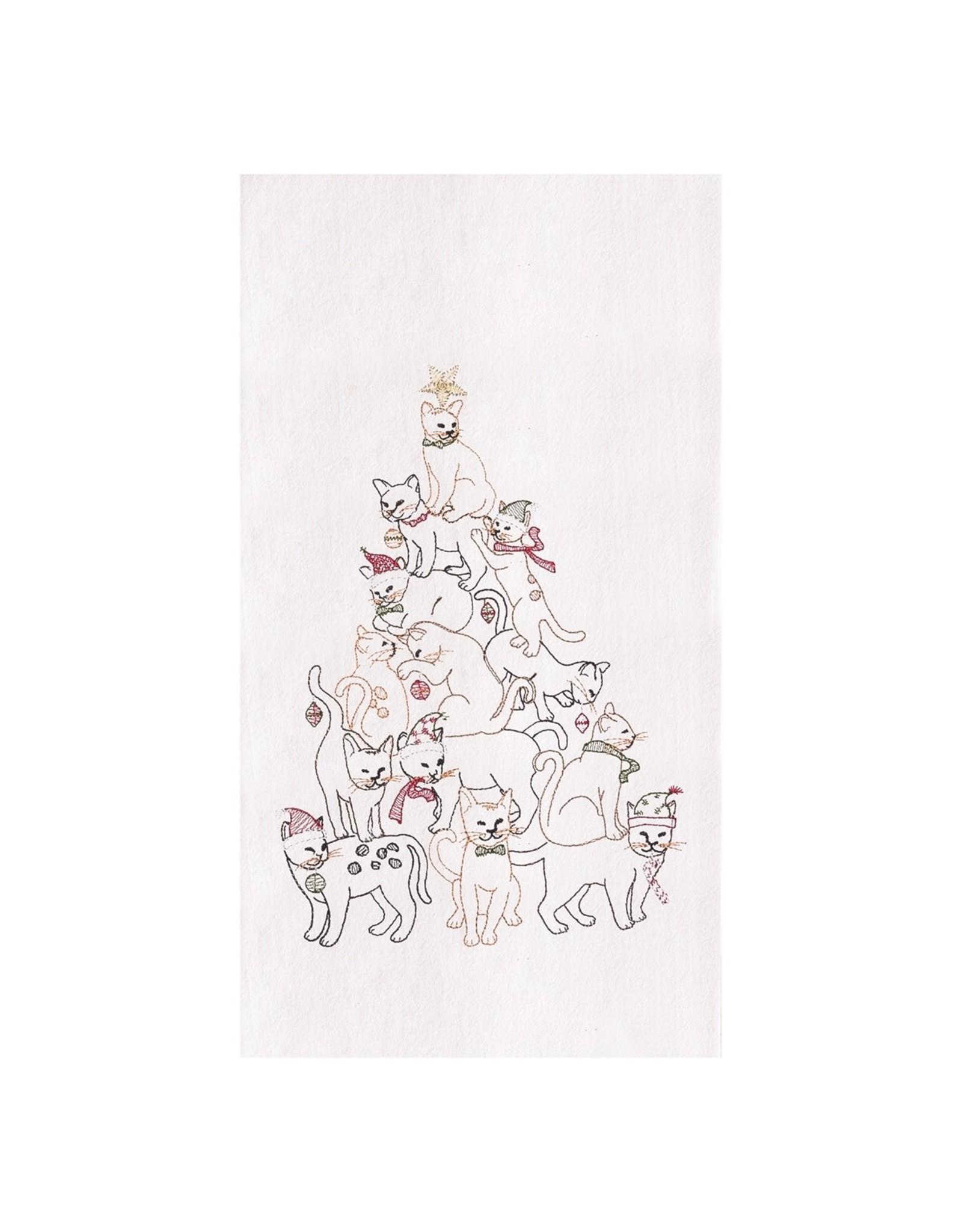 C and F Enterprises CAT CHRISTMAS TREE KITCHEN TOWEL