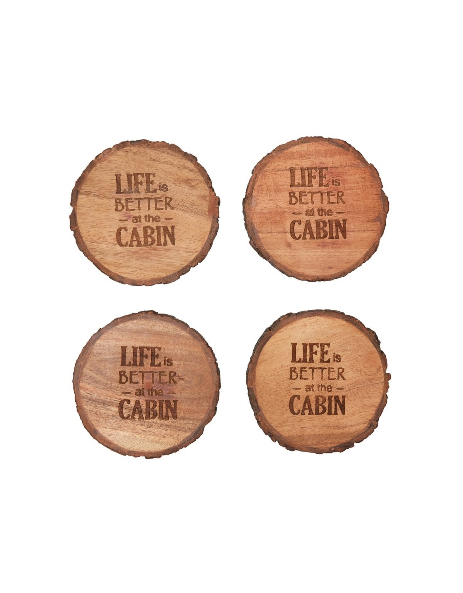 C and F Enterprises LIFE BETTER AT CABIN COASTER SET