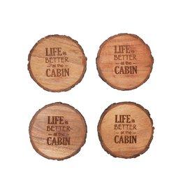 C and F Enterprises LIFE BETTER AT CABIN COASTER SET