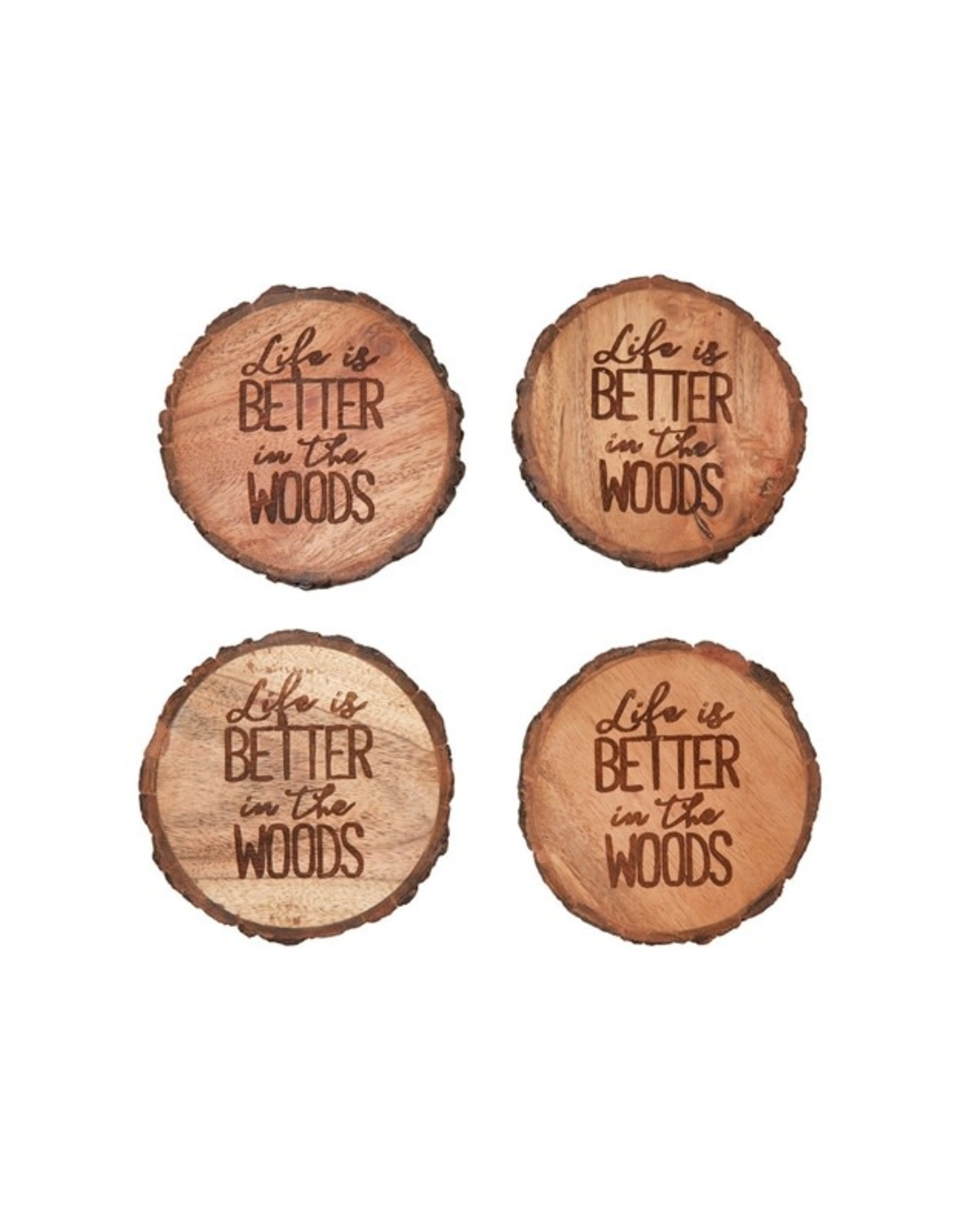 C and F Enterprises LIFE BETTER IN WOOD COASTER SET