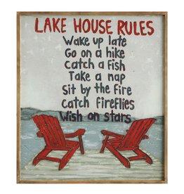 Creative Coop LAKE HOUSE RULES WOOD WALL DECOR
