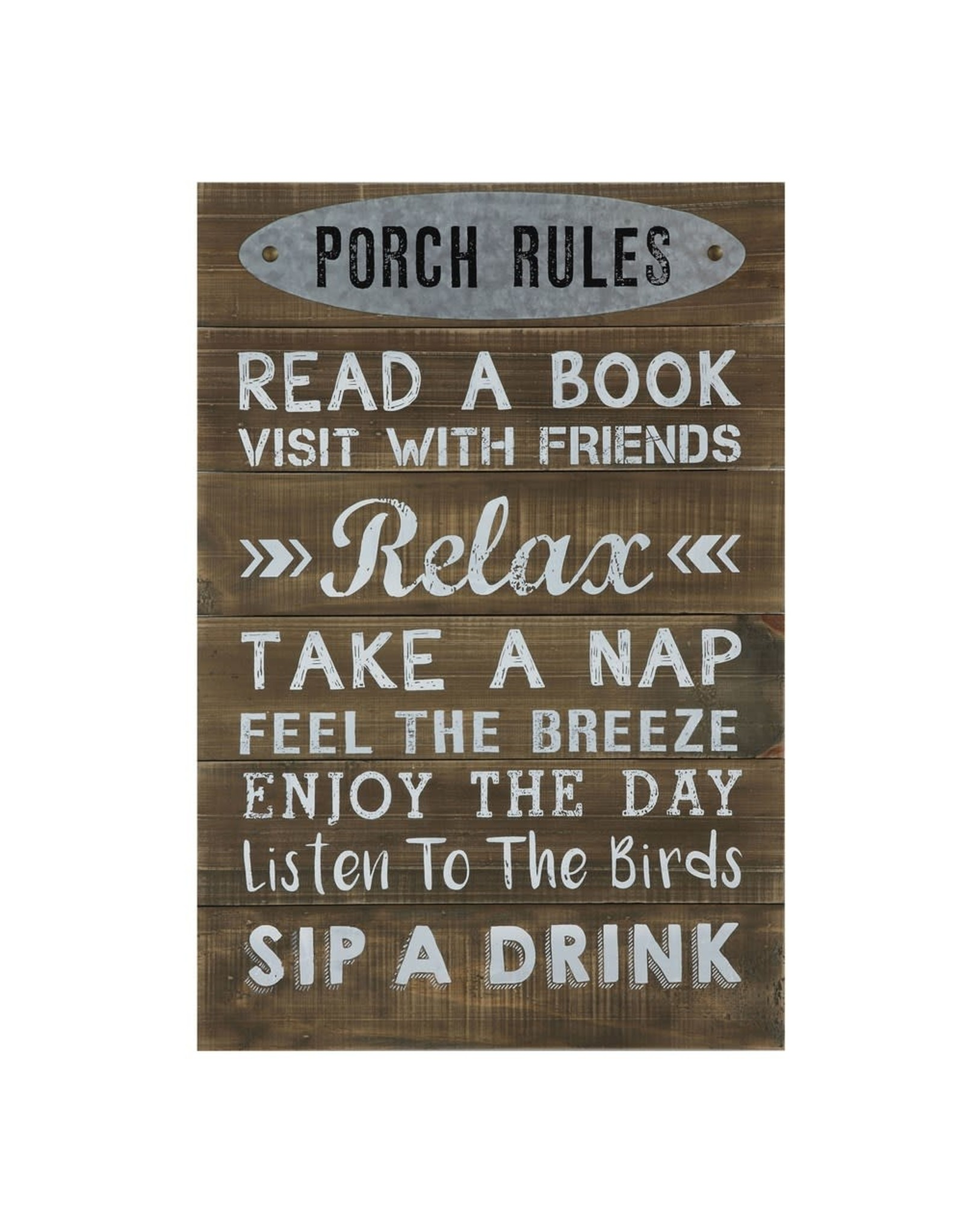 "Creative Coop PORCH RULES 24"" SIGN"