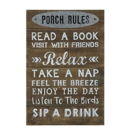 """Creative Coop PORCH RULES 24"""" SIGN"""
