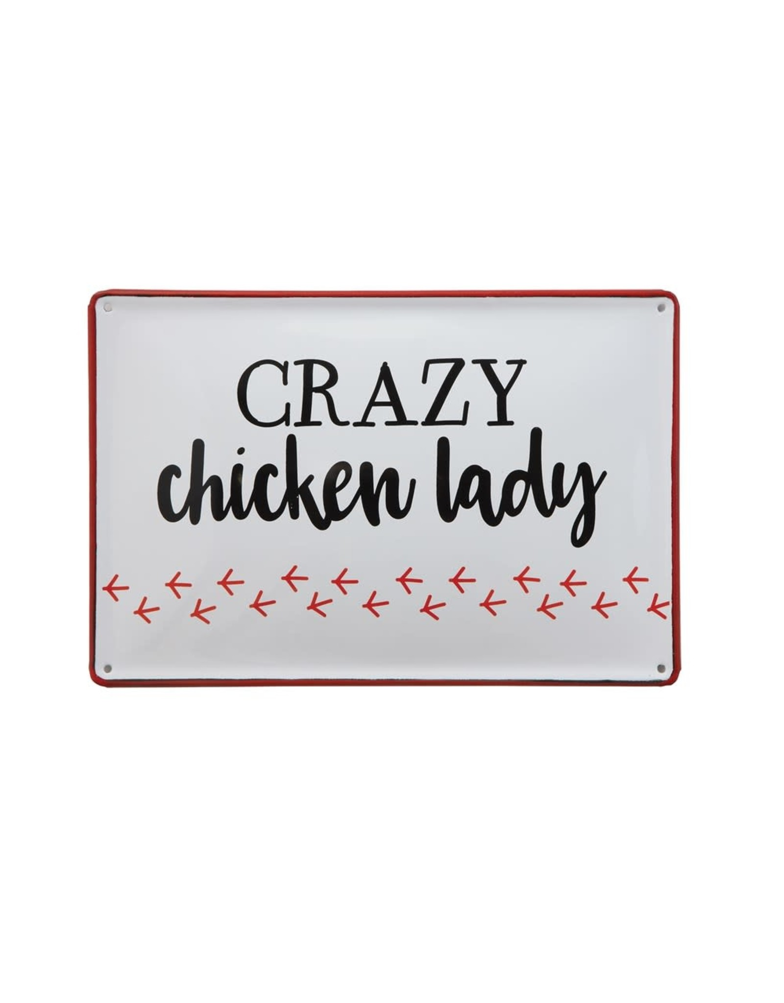Creative Coop CRAZY CHICKEN LADY TIN SIGN