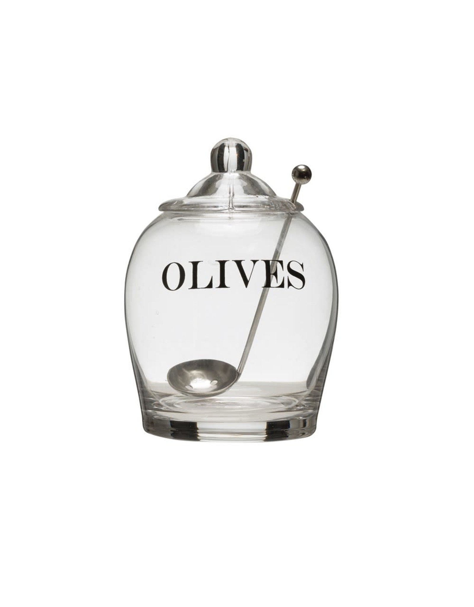 """Creative Coop OLIVES GLASS JAR WITH SPOON 4"""""""