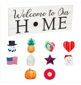 Evergreen INTERCHANGEABLE WOOD SIGN WELCOME TO OUR HOME