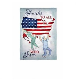 Evergreen THANKS TO ALL WHO SERVE FLAG