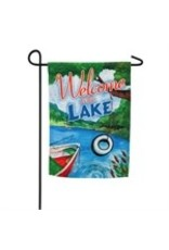 Evergreen WELCOME TO THE LAKE SUEDE GARDEN FLAG