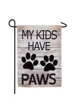 Evergreen MY KIDS HAVE PAWS BURLAP GARDEN FLAG