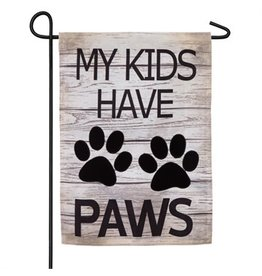 Evergreen MY KIDS HAVE PAWS BURLAP GARDEN FLAG