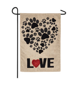Evergreen PAW PRINTS HEART FLAG