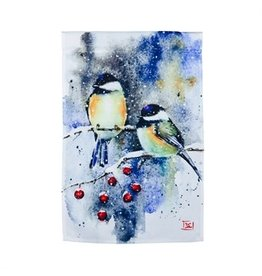 Evergreen CHICKADEE AND CRABAPPLE GARDEN SATIN FLAG