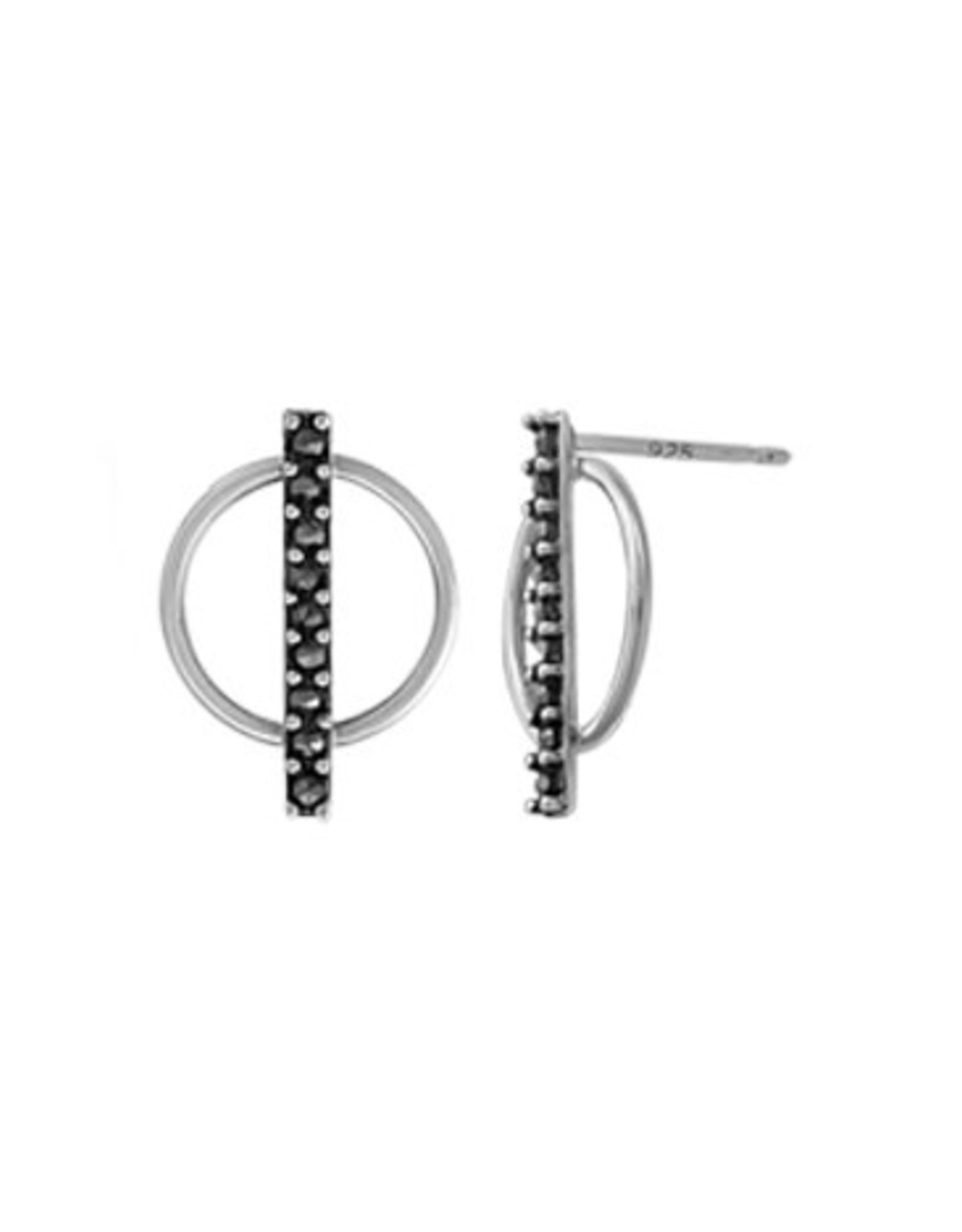 Boma CIRCLE BAR MARCASITE POST EARRING SILVER