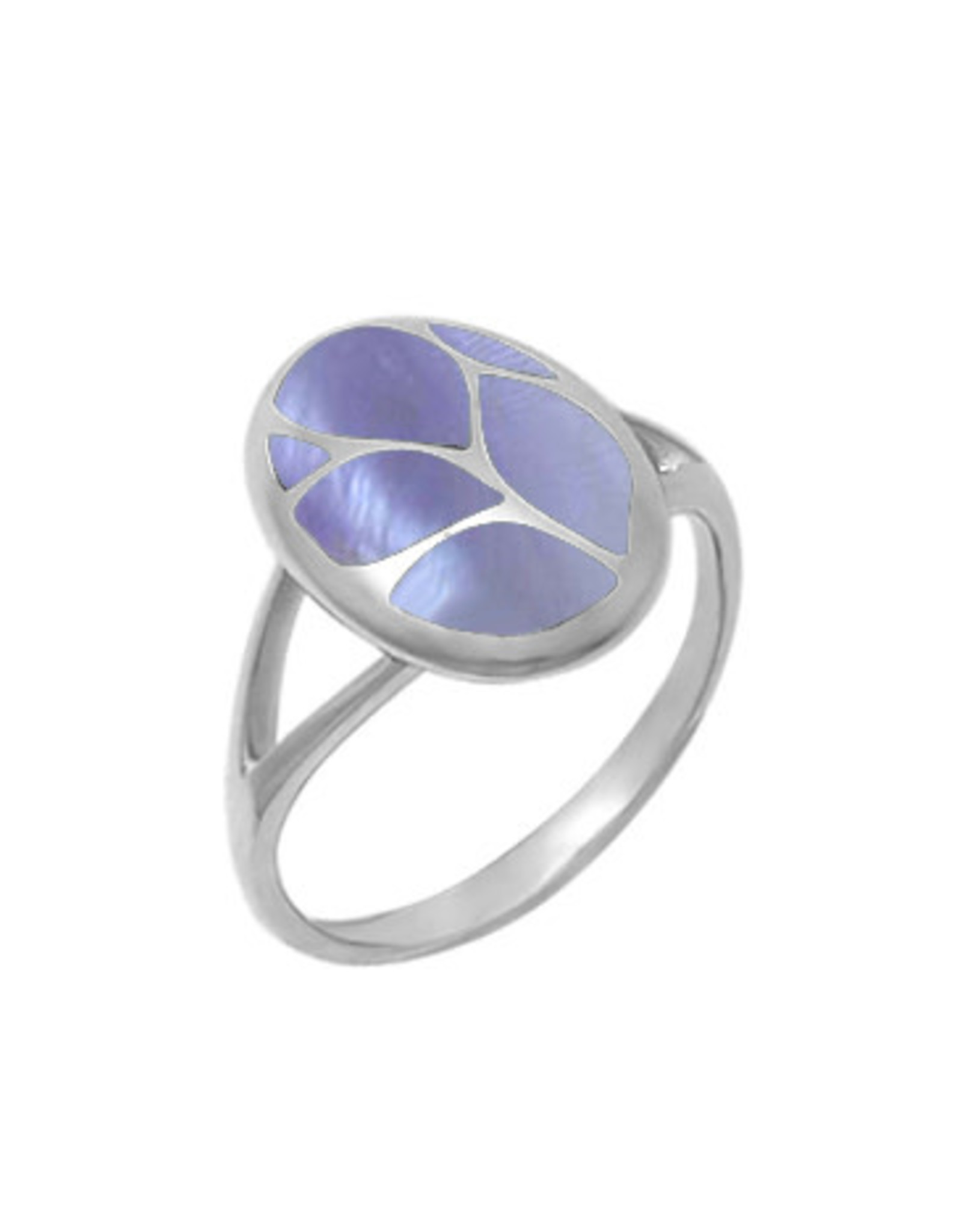 Boma OVAL PURPLE MOTHER OF PEARL RING SILVER