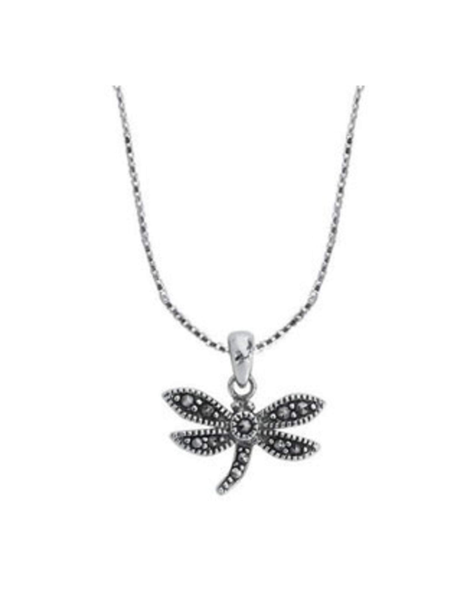 """Boma DRAGONFLY MARCASITE NECKLACE 18"""" SILVER"""