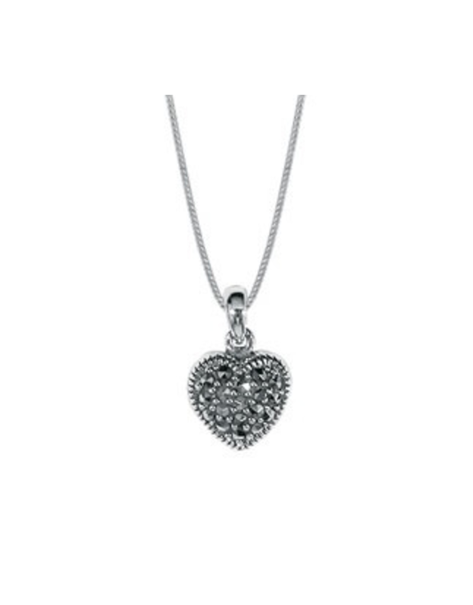 "Boma HEART MARCASITE NECKLACE 18"" SILVER"
