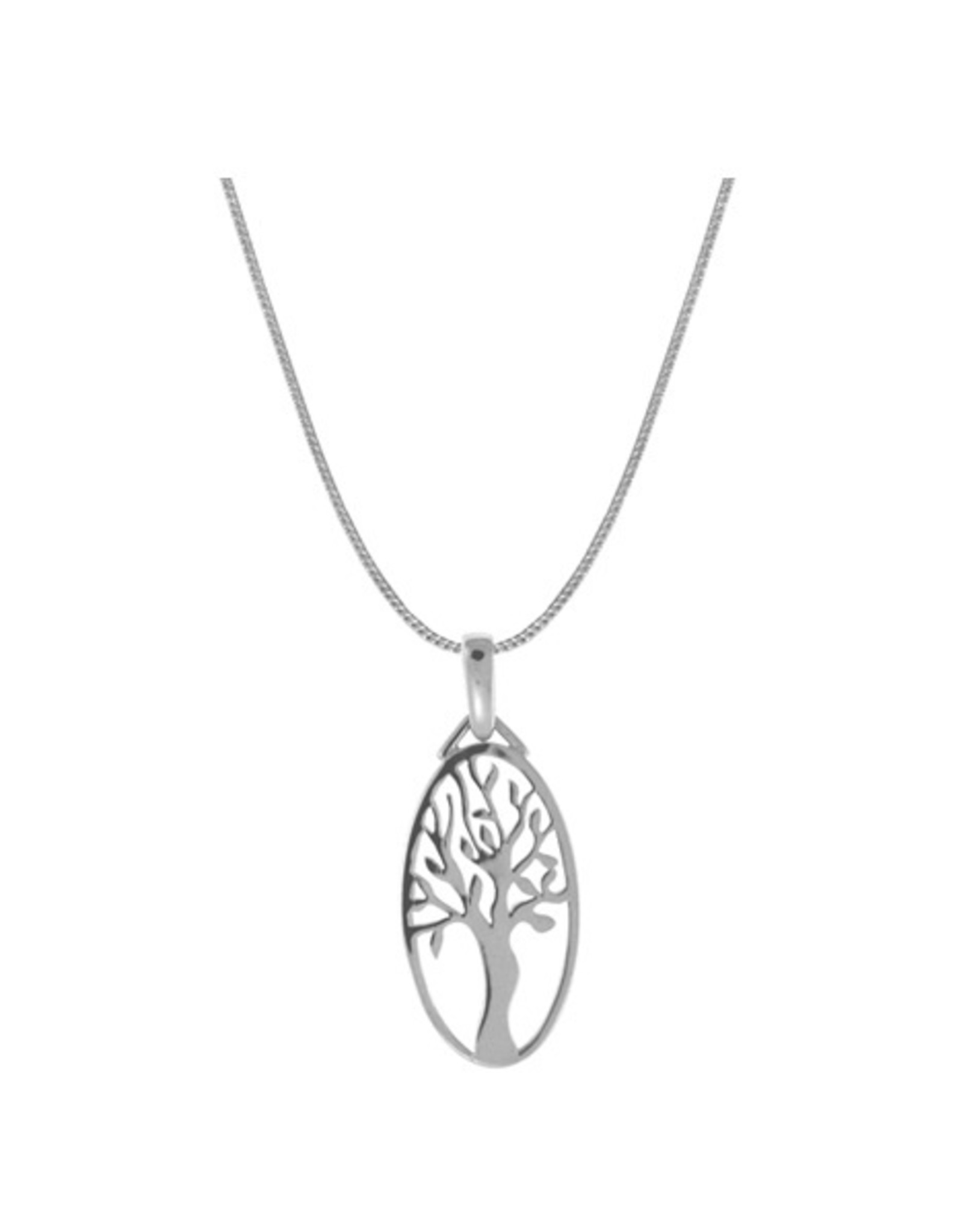 "Boma TREE OF LIFE OVAL NECKLACE 16"" SILVER"