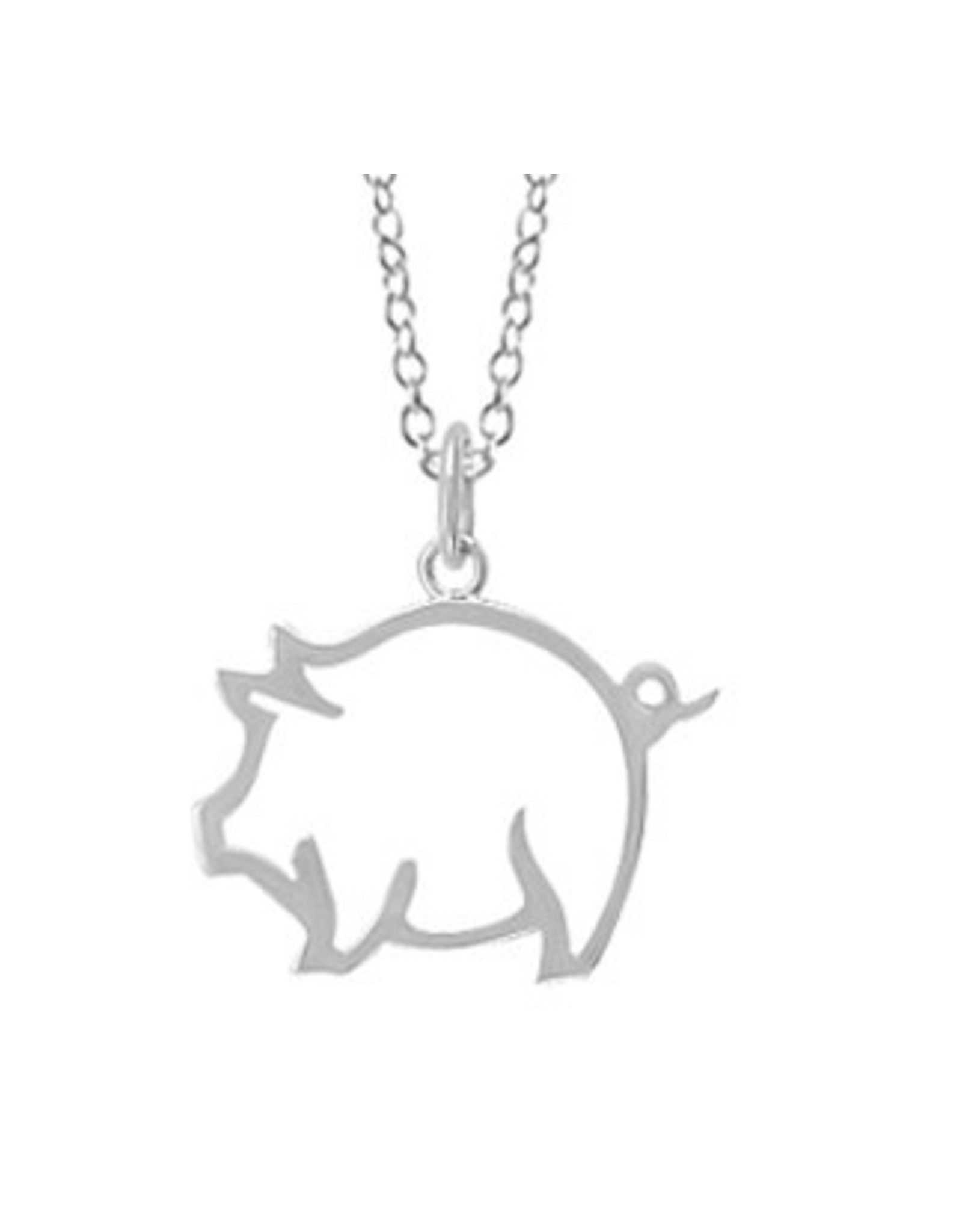 """Boma PIG CUTOUT NECKLACE 16""""+2 SILVER"""