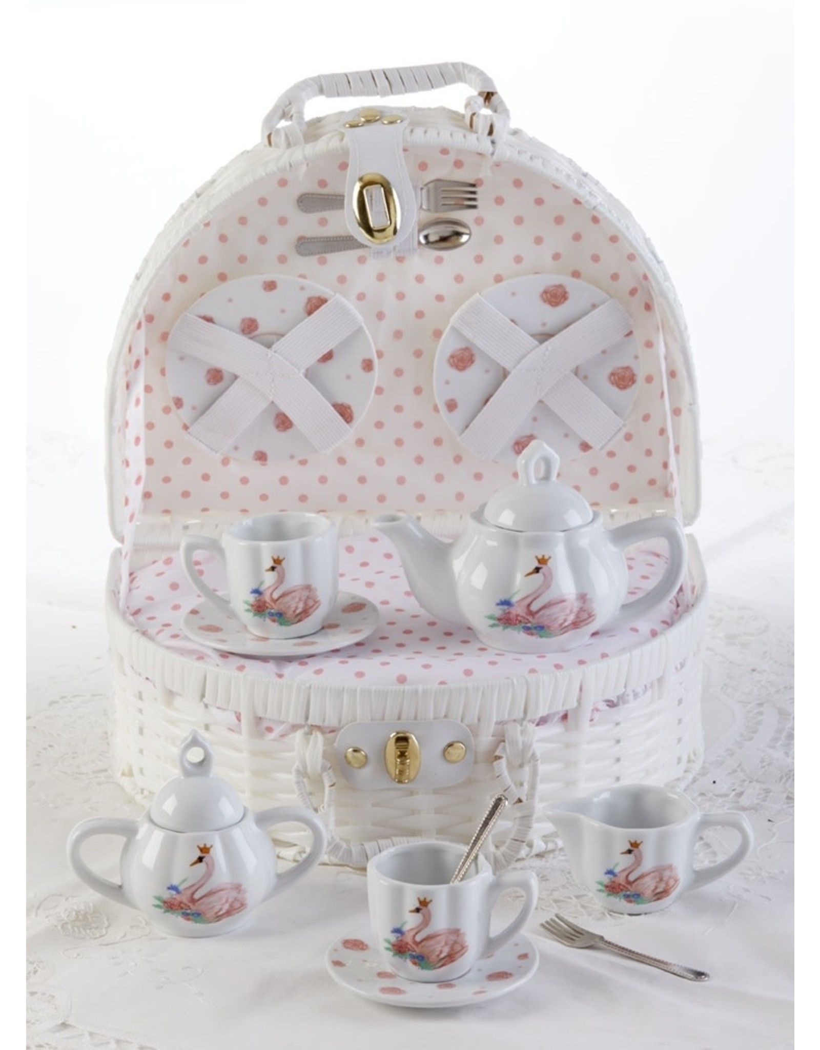 Delton SWAN BASKET PORCELAIN TEA SET