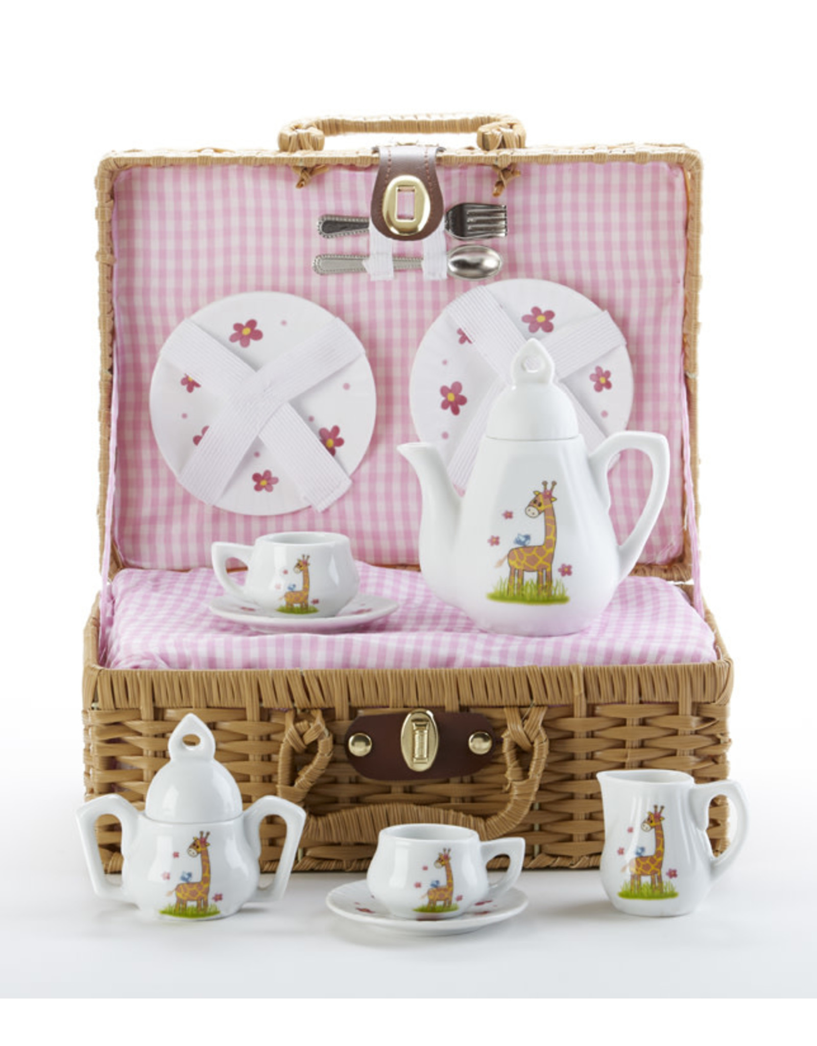 Delton GIRAFFE BASKET PORCELAIN TEA SET