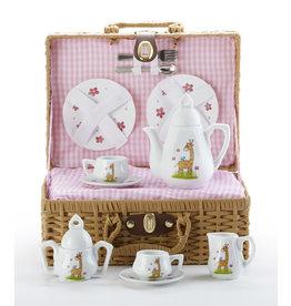 Delton GIRAFFE BASKET PORCELAIN TEA SET