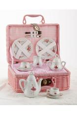 Delton PINK BALLERINA BASKET PORCELAIN TEA SET