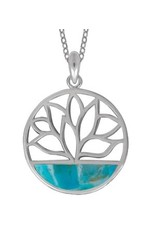 "Boma BLOOM TURQUOISE NECKLACE 18"" SILVER"