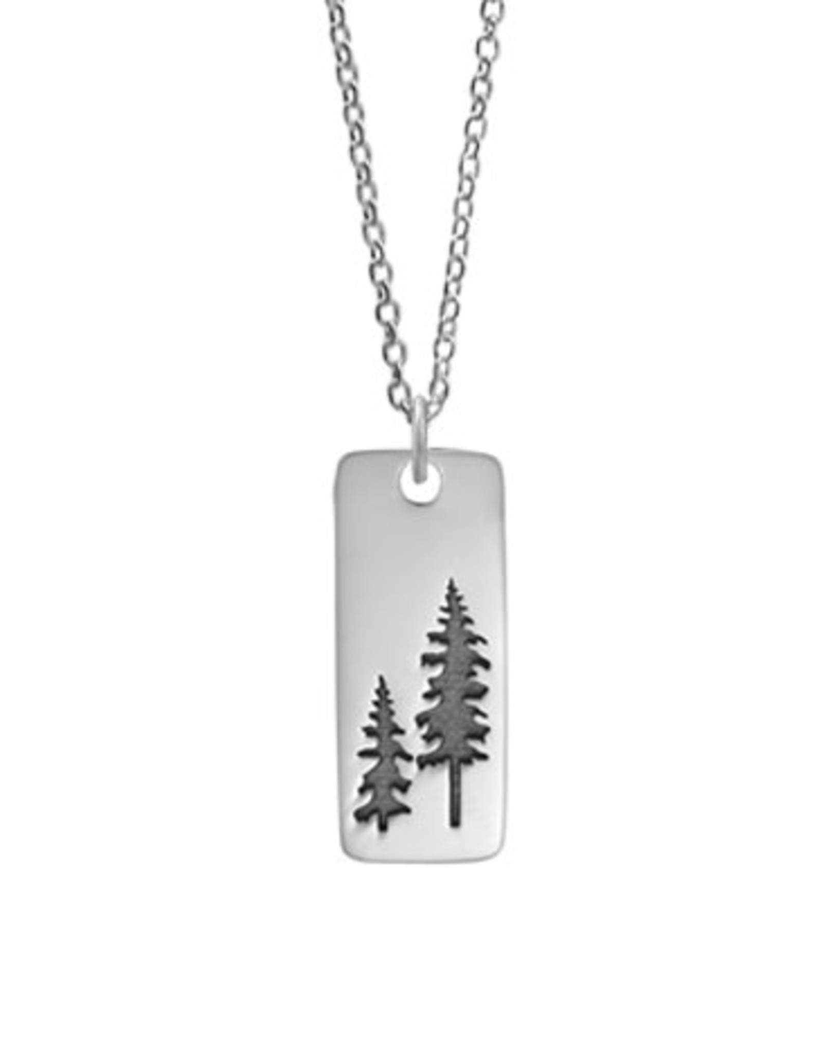 """Boma TREES TAG NECKLACE 22"""" OXIDIZED SILVER"""