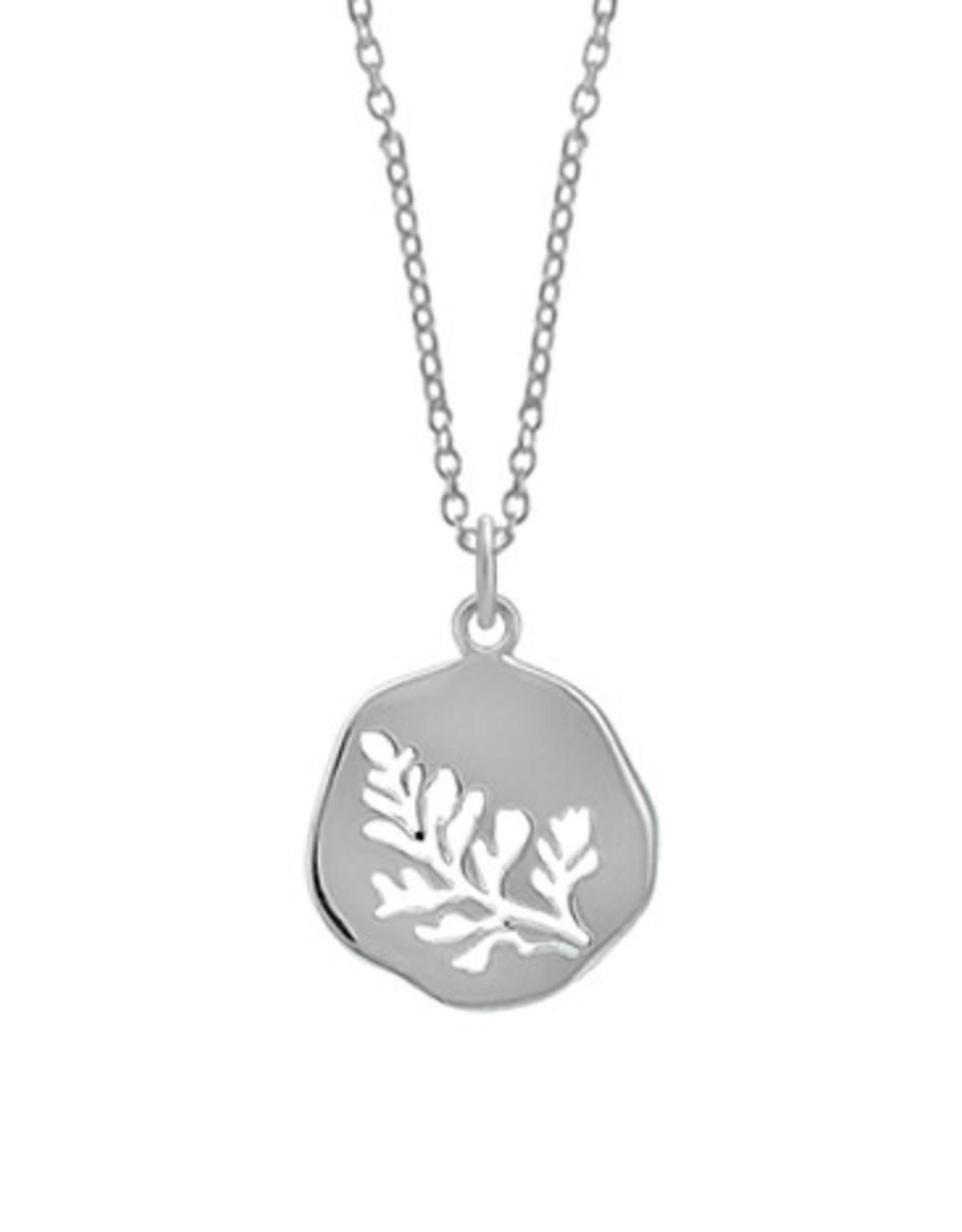 """Boma LEAF CUTOUT NECKLACE 20"""" SILVER"""