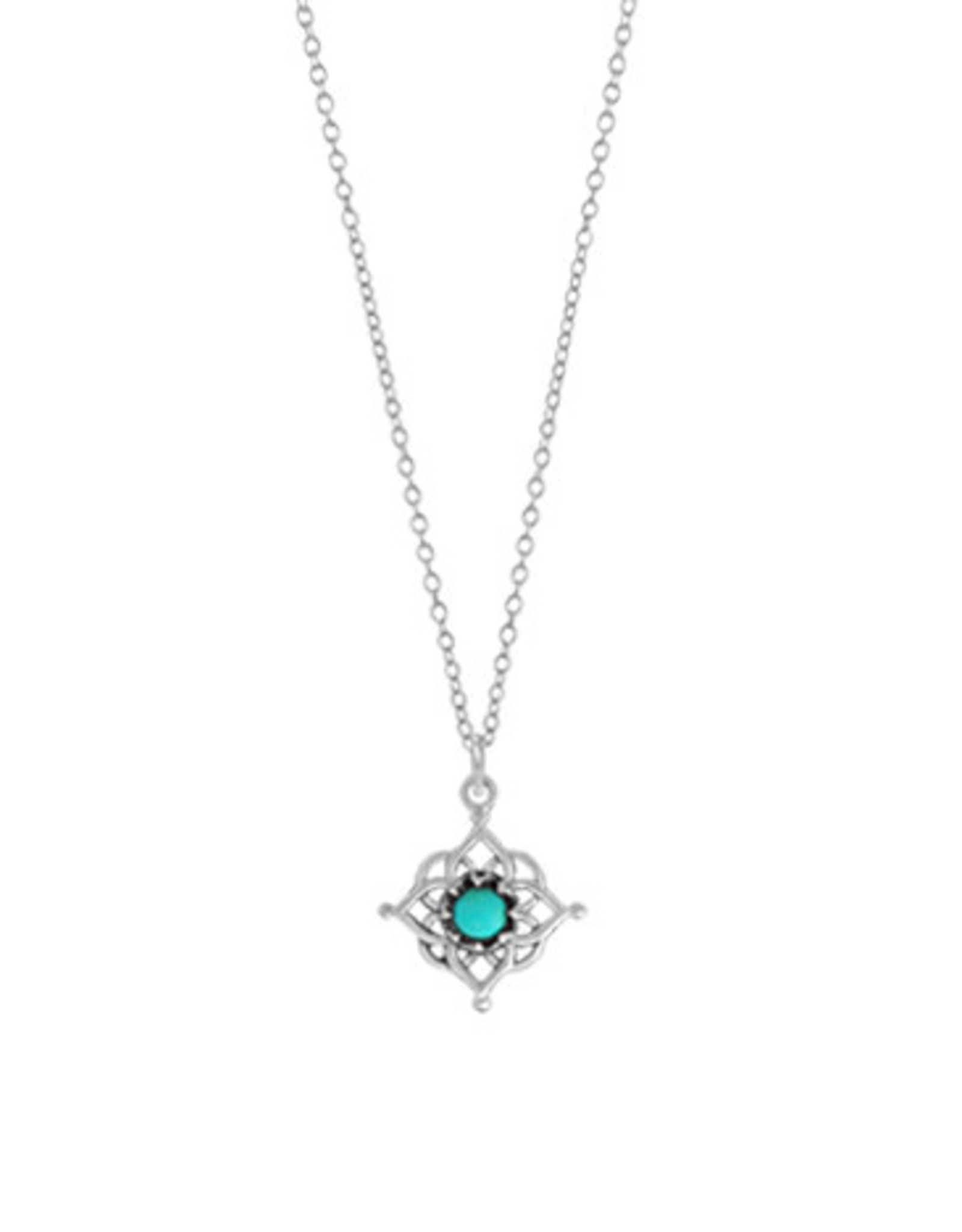 "Boma FILIGREE TURQUOISE NECKLACE 18"" SILVER"