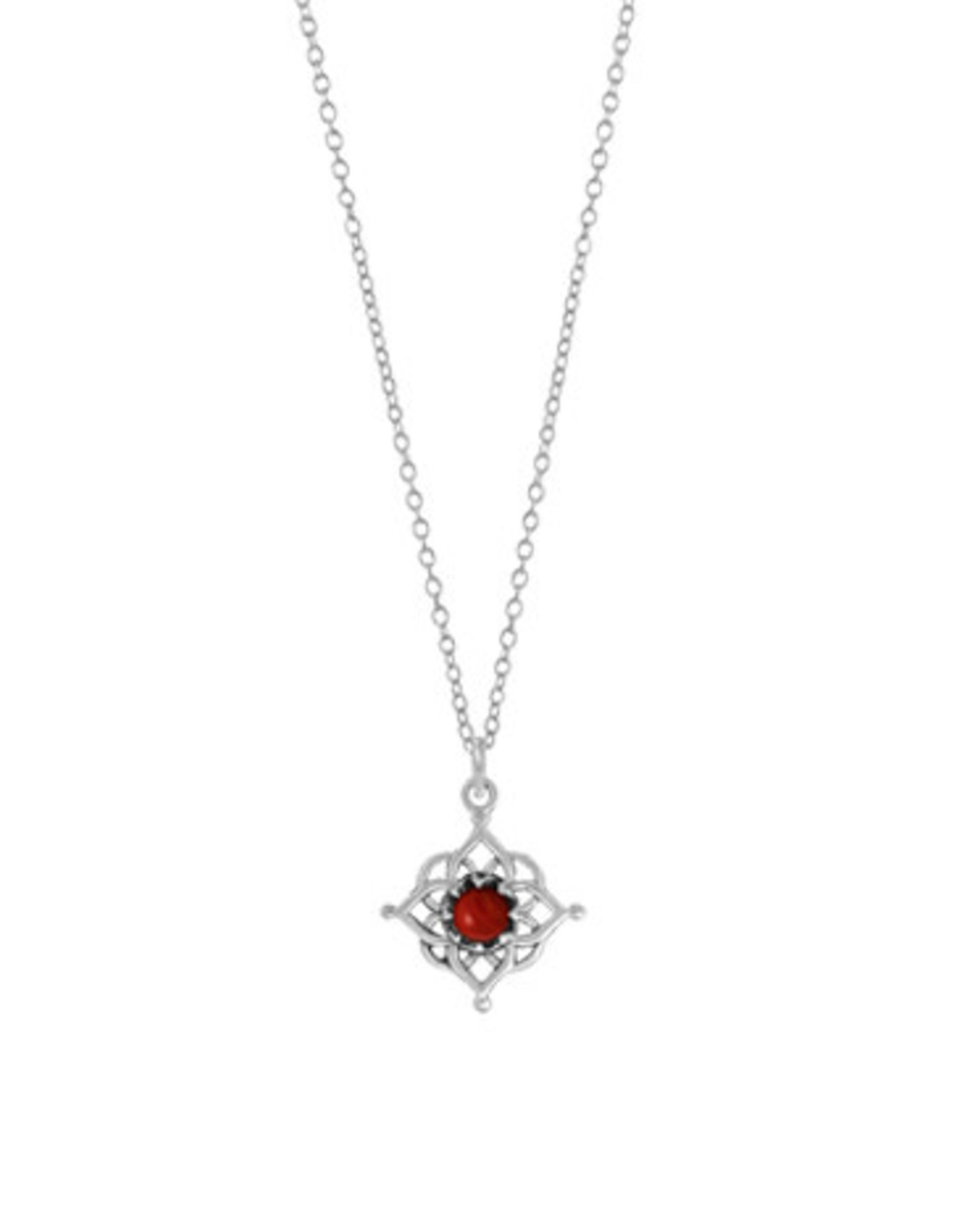 """Boma FILIGREE SYNTHETIC RED CORAL NECKLACE 18"""" SILVER"""