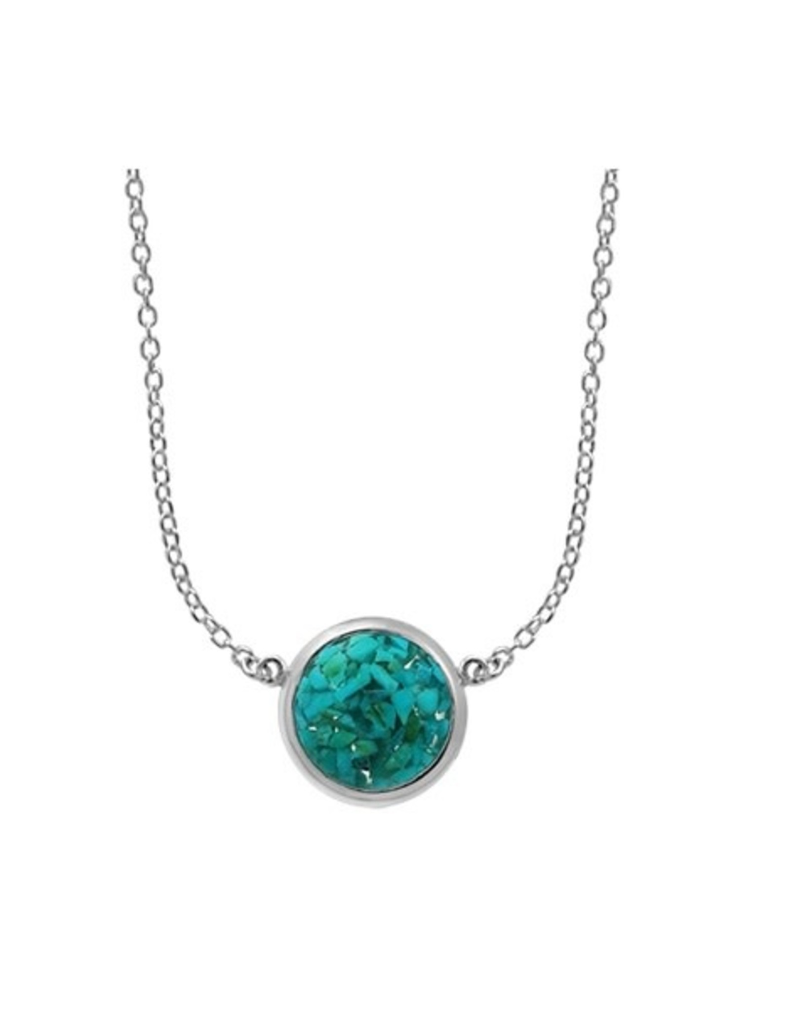 """Boma MOSAIC TURQUOISE RESIN NECKLACE 20"""" SILVER"""