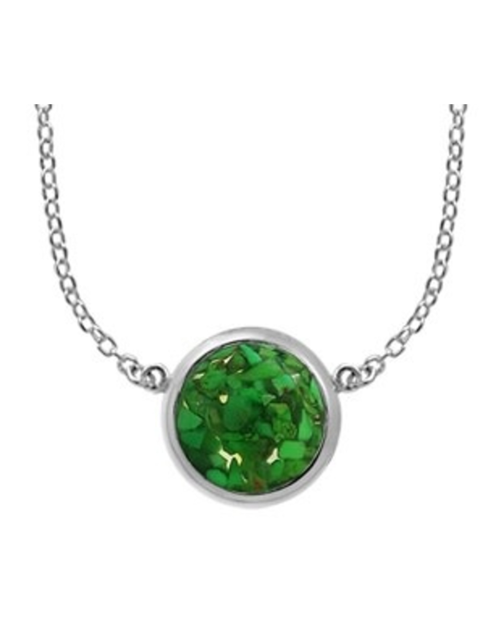 """Boma MOSAIC GREEN TURQUOISE RESIN NECKLACE 20"""" SILVER"""