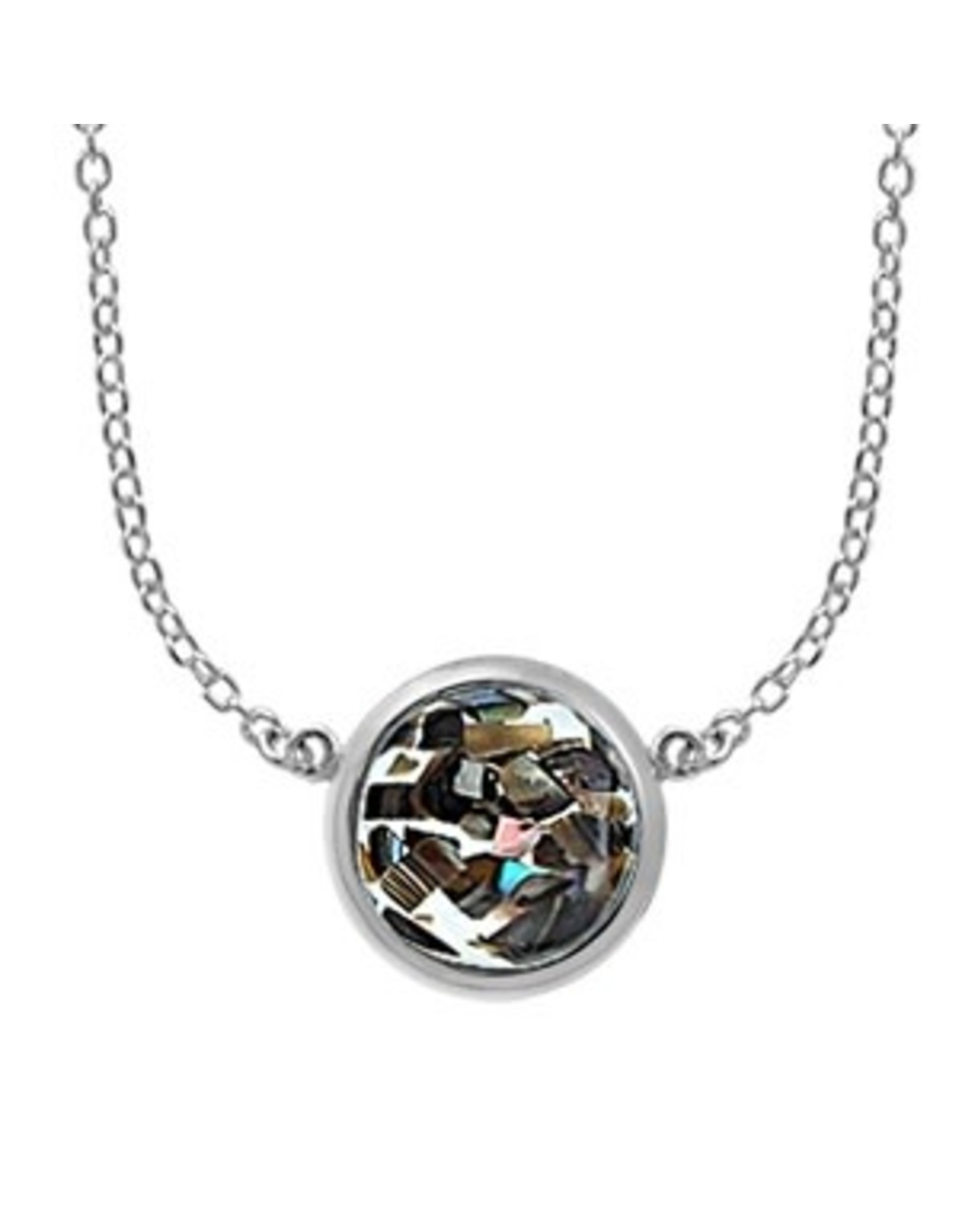"""Boma MOSAIC ABALONE RESIN NECKLACE 20"""" SILVER"""