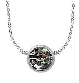 "Boma MOSAIC ABALONE RESIN NECKLACE 20"" SILVER"