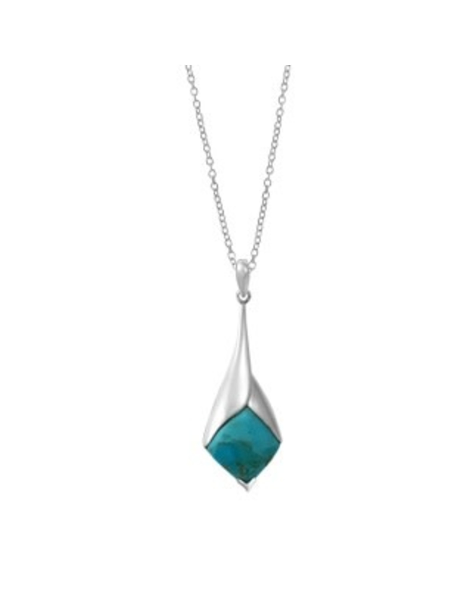 "Boma TURQUOISE DROP NECKLACE 20"" SILVER"