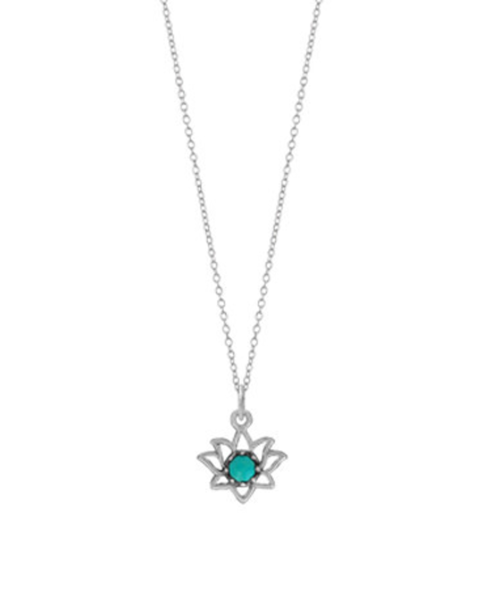 """Boma LOTUS TURQUOISE NECKLACE 18"""" SILVER"""