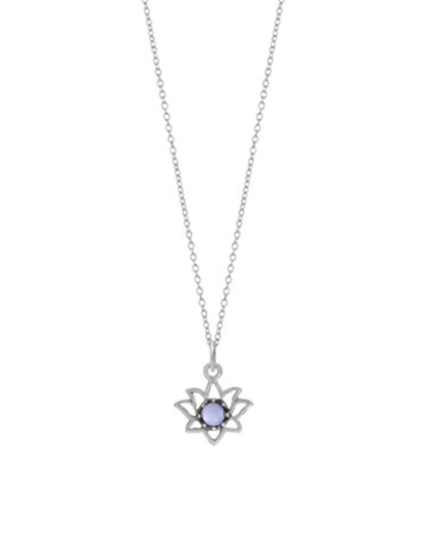 """Boma LOTUS PURPLE MOTHER OF PEARL NECKLACE 18"""" SILVER"""