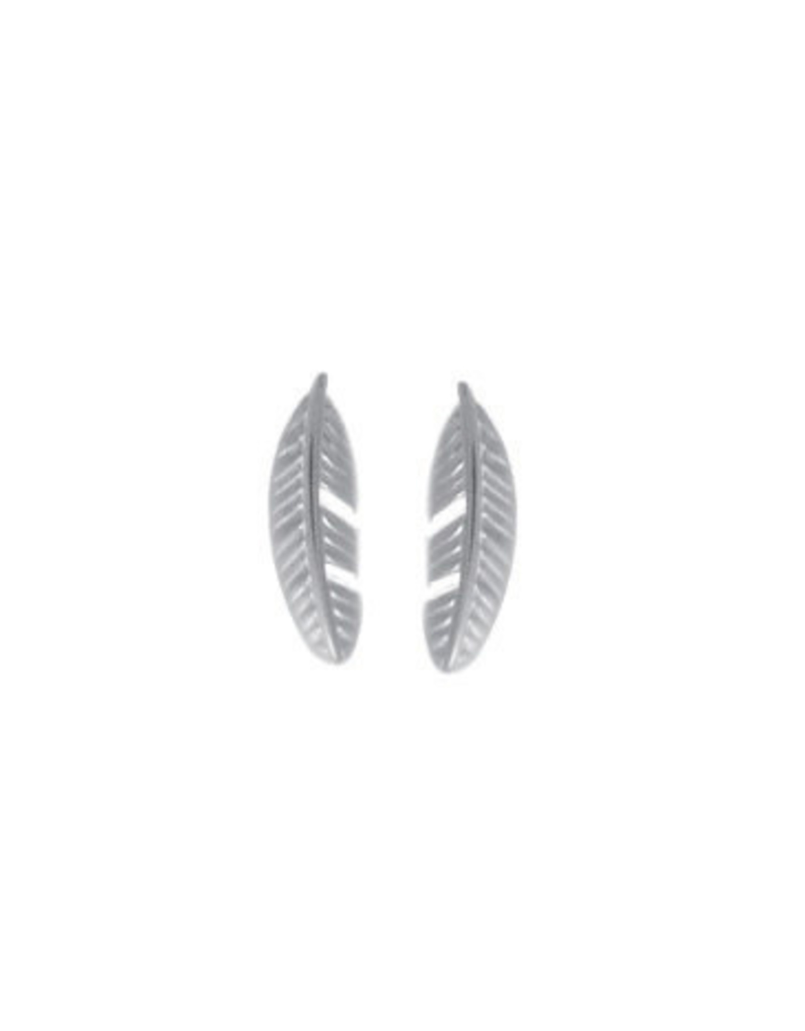 Boma FEATHER POST EARRING MATTE SILVER