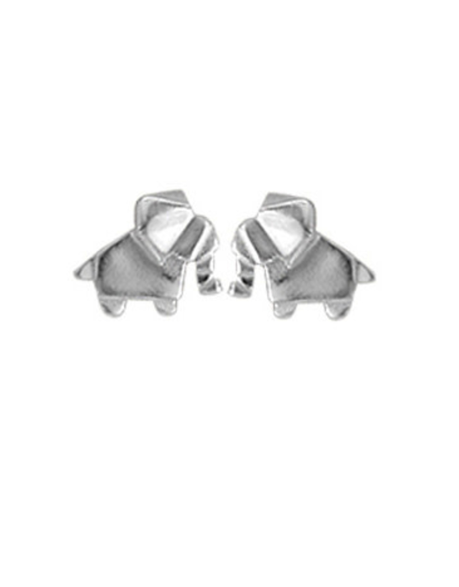 Boma ELEPHANT ORIGAMI STUD EARRING SILVER