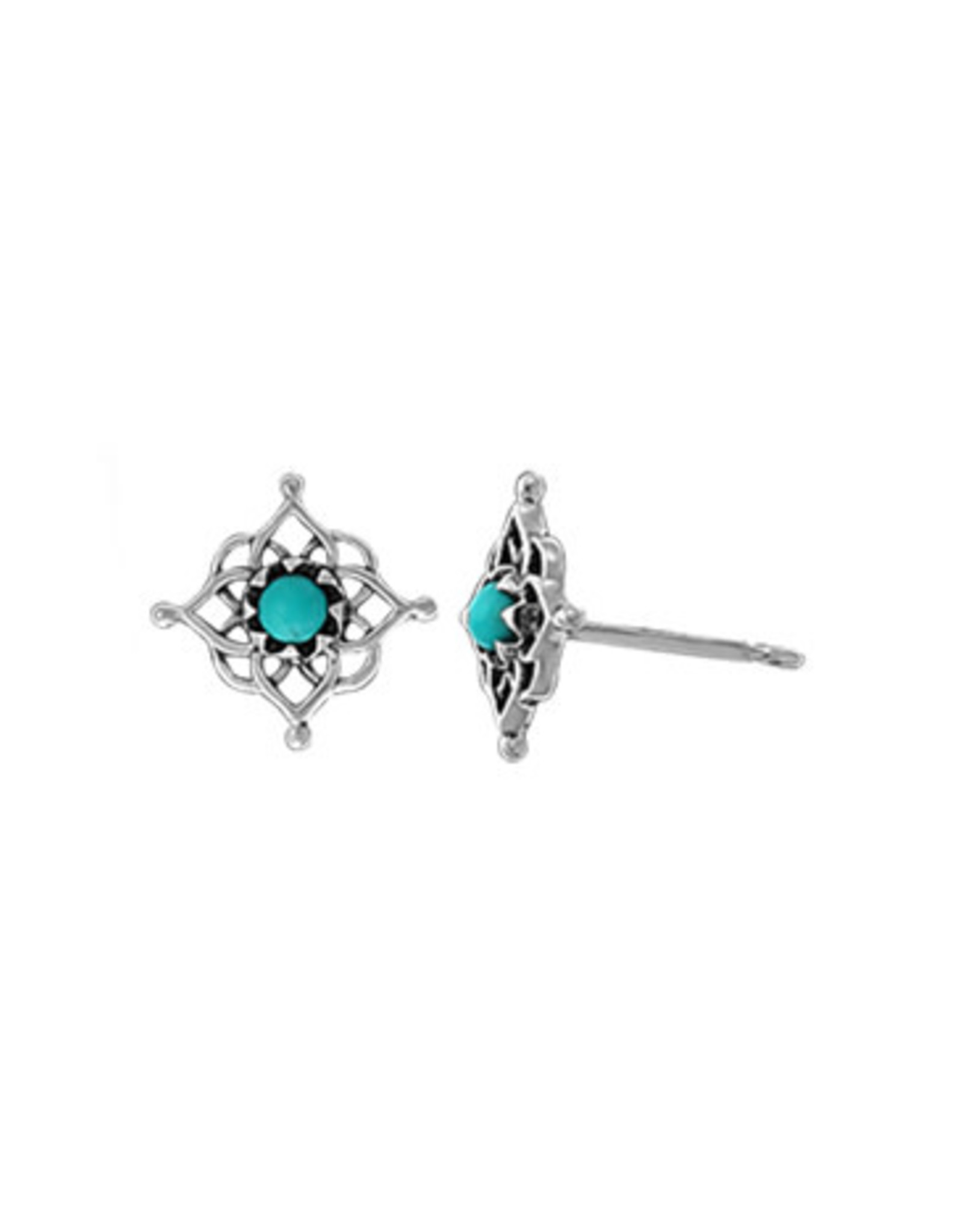 Boma FILIGREE TURQUOISE STUD EARRING SILVER