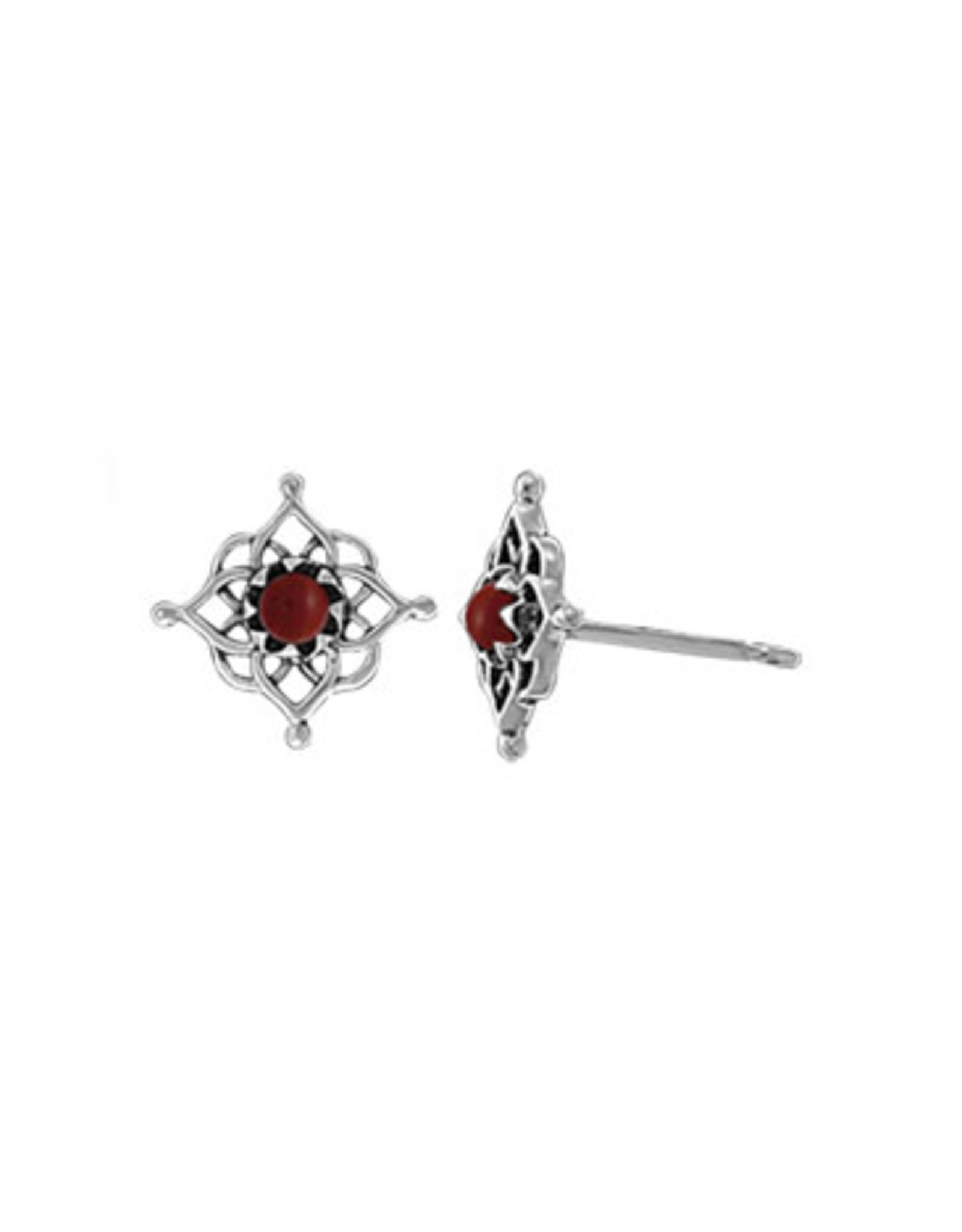 Boma FILIGREE SYNTHETIC RED CORAL STUD EARRING SILVER