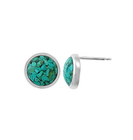 Boma MOSAIC RECYCLED TURQUOISE STUD EARRINGS SILVER