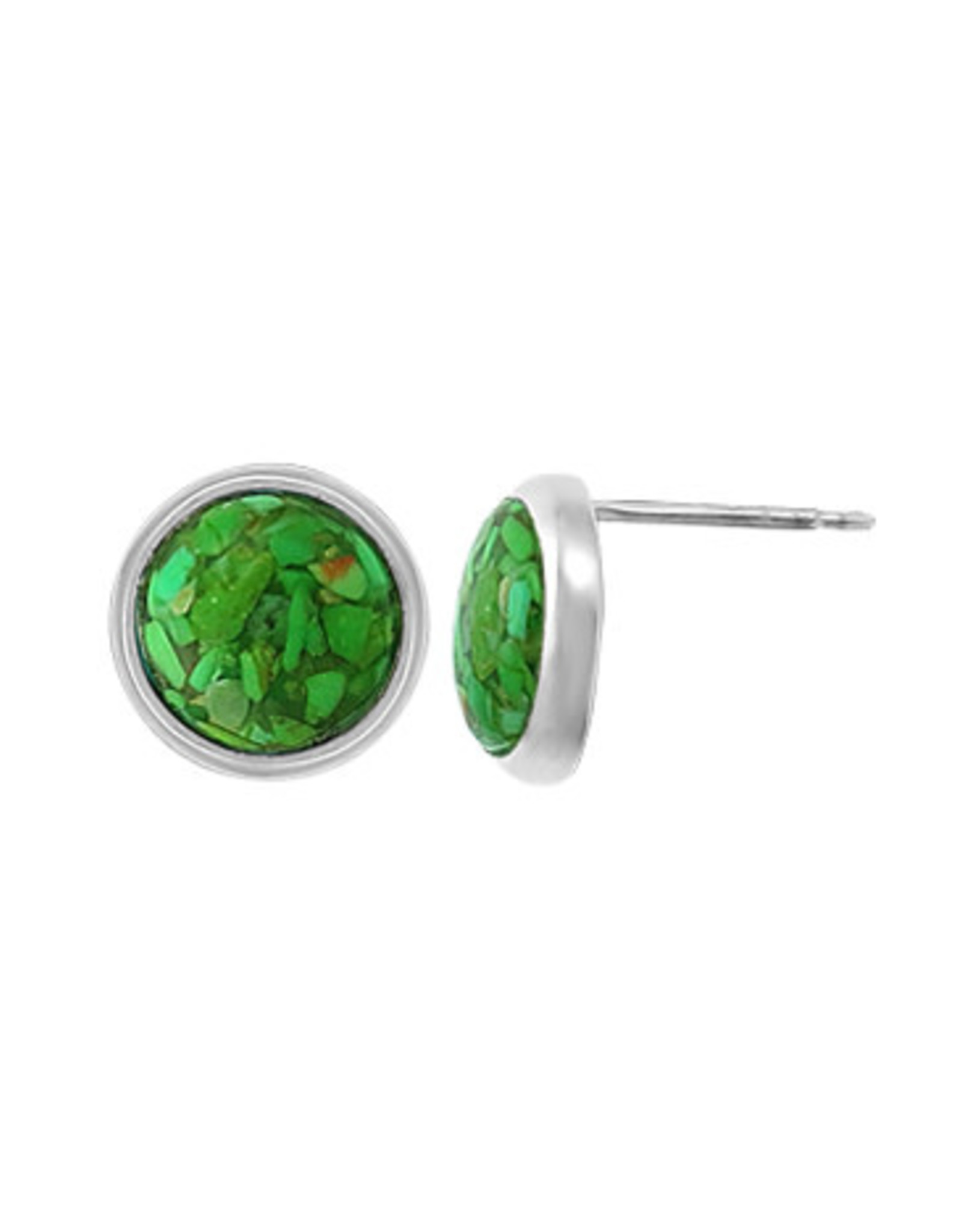 Boma MOSAIC RECYCLED GREEN TURQUOISE STUD EARRINGS SILVER