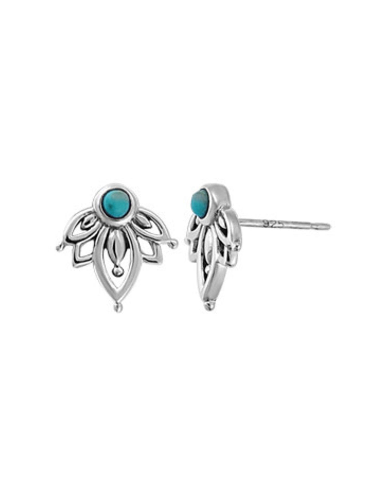 Boma FLOWER TURQUOISE STUD EARRINGS SILVER